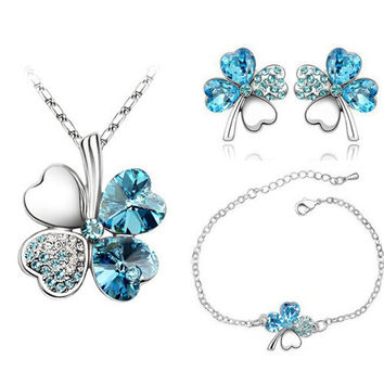 free shipping big promotion Austrian Crystal Clover 4 Leaf leaves charm Chain Pendant necklace earring bracelet Jewelry Set 9554