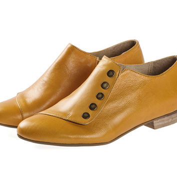 Grace Mustard, Yellow Shoes, Leather Shoes, Flats, Handmade Shoes