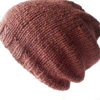 Hand Knitted Slouchy Beanie, Brown slouch hat, Slouchy Toque, Slouchy cap, Teen hat, Unisex hat, Irish knit hat, warm winter hat, w