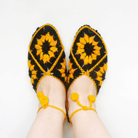 Knitted Womens Slippers, Home Slippers Socks, Amber Floral Slippers, Christmas Slippers, Party Slippers, Gift for Her
