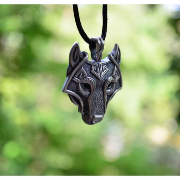 1pcs Norse Vikings Pendant Necklace Norse Wolf Head Necklace Original Animal Jewelry Wolf Head hange