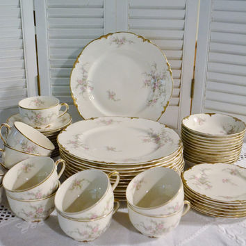 Vintage Taylor Smith Taylor Dinnerware Set 56 pcs Pink Floral Pattern 8421  PanchosPorch