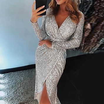 Sexy Women Dress Deep V Shiny Sequins Dress Wrap Ruched Long Sleeve Night Club Dress Slim Fit Split Mujer Vestidos