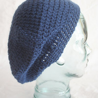 SPRING SALE!!! Crochet Slouchy Hat - Beanie hat in dark blue, Teen - Adult size Women Man