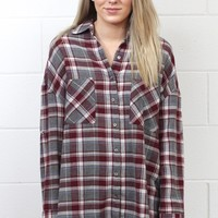 Country Chic Plaid Button Down {Burgundy}