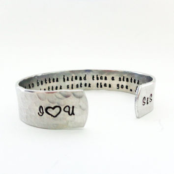 Sister/ Best Friend Gift- There is no better friend than a sister... Custom Stamped Bracelet By Timeless Maiden
