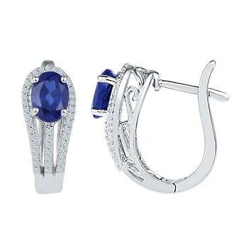 Sterling Silver Womens Oval Lab-Created Blue Sapphire Diamond Hoop Earrings 2-5/8 Cttw