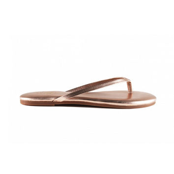 Roee Leather Flip Flops in Rose Gold