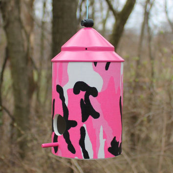 Pink Camo Wrapped Birdhouse by Bird Feeder Guy. Camouflage, Army Gift. Great Cabin or Girls Room Decor. Women's Hunting or Camo Chic