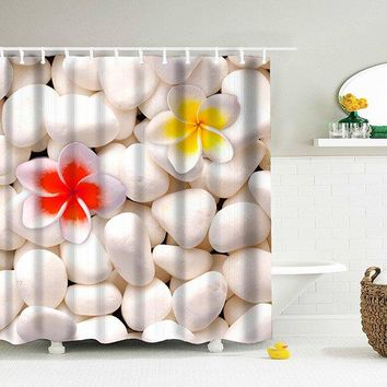 3D Cobblestone Waterproof Fabric Shower Curtain