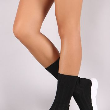 Sweater Knit Mid Calf Sock Sneaker Boots