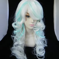 SHOP-WIDE SALE Snowflake / Ice White and Light Blue / Long Curly Wavy Layered Wig Holiday Santa Elf Cosplay Costume