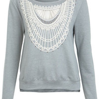 Embroidered Trim Sweat - Tops  - Apparel