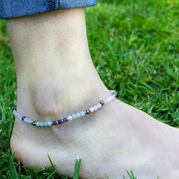 Rose Quartz and Amazonite Anklet