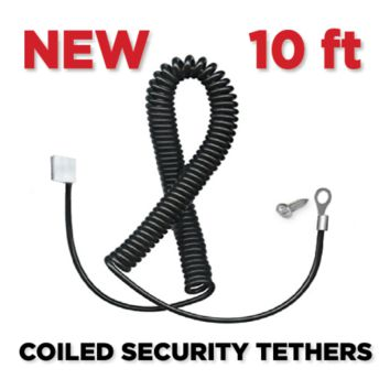 Lockdown™ Coiled Security Tethers in BLACK (10' Long)
