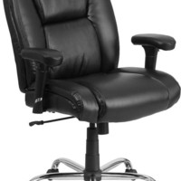 Series 400 lb. Capacity Big & Tall Black Leather Swivel Task Chair with Height Adjustable Arms