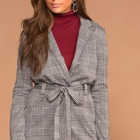 Cynthia Plaid Self-Tie Jacket