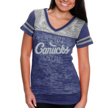 Touch by Alyssa Milano Vancouver Canucks Ladies Coop 2 Premium T-Shirt - Gray/Navy Blue