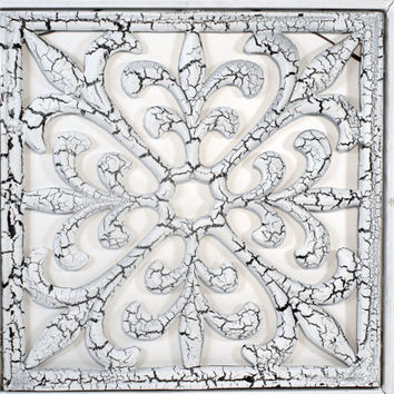 Ornamental Iron, Framed, Vintage, Home Decor, Wall Hanging, Cast Iron, Cream Black, Industrial, Fleur-de-lis