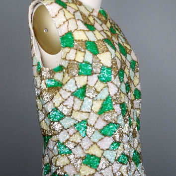 60's Mosaic Sequin Wool Top / Iridescent Ivory White Yellow Gold and Kelly Green Stained Glass Beaded Sequined Top