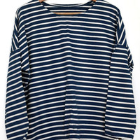 Urban Outfitters Striped Loose Fit Boy Friend Tee Os T Shirt Blue
