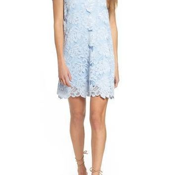 BB DAKOTA Jacqueline Lace Shift Dress Cyanide $75