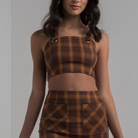 AKIRA Zip Up Cropped Plaid Top in Brown, Green