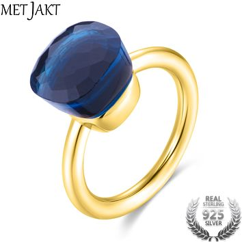 MetJakt Gold Color Blue Topaz Ring and Natural Agate Solid 925 Sterling Silver Rings for Women's Wedding Party Elegant Jewelry