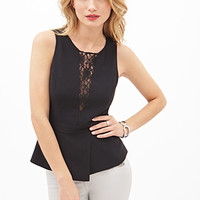 LOVE 21 Lace-Paneled Peplum Top Black