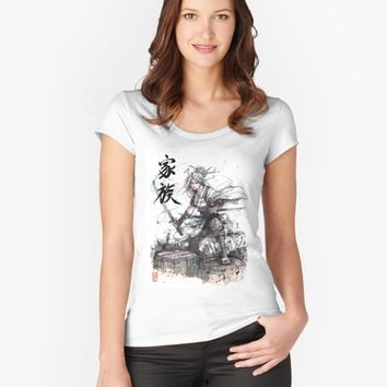 """Girl Samurai with Two Katana - Japanese Calligraphy Family"" Women's Relaxed Fit T-Shirt by Mycks 