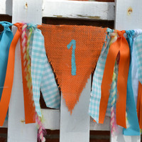 High Chair fabric banner 32 inches long orange aqua and white 1st birthday decor photo prop