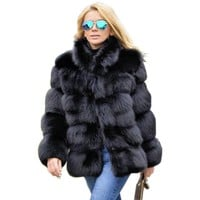 Winter Coat Faux Fox Fur Plus Size