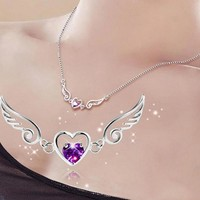 925 Steeling Silver Necklace Fashion Angel Love Wings Peach Heart Necklaces Party Birthday Jewelry Gift For Women Girl C2