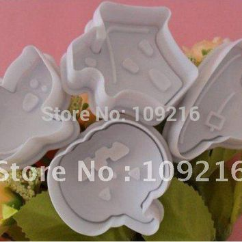 4pcs/set 3D Ghost/House/Pumpkin/Witch Cap  Food Grade Plastic Cookies Decorating Fondant Plunger Cutter Tools