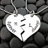 Forever and Always Couples Broken Heart Necklace Set
