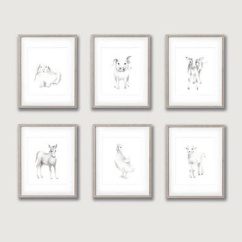 Farm Nursery Art, Set of 6 Prints, Animal Paintings, Pig, Lamb, Bunny, Horse, Duck, Cow, Farmyard Prints, Kids Art, Sketch Animal Art, Baby