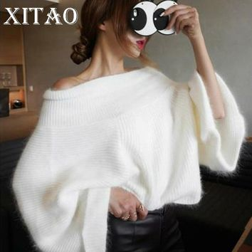 [XITAO] 2017 Korea New Autumn Women Solid Color Flare Sleeve Pullover Sweaters Female Full Sleeve Slash Neck Sweaters CXB793