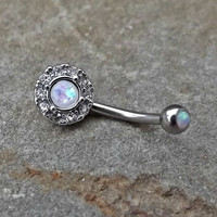 Fire Opal White Rhinestone Belly Button Navel Ring Body Jewelry Fits in Navel 14ga Cute Belly Ring