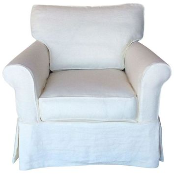 Pre-owned Slipcovered Roll Arm Side Chair