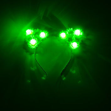 Customizable Green LED Cat Ear Headband, Floral Cat Ears, LED Flower Crown, Saint Patricks Day Outfit, Electric Daisy Carnival, Lollapalooza