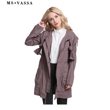 MS VASSA Women coats Bohemian  New Autumn Spring Ladies trench with drawstring clothes and hood plus size 3XL long outerwear