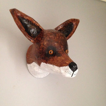 Paper mache fox head/ faux taxidermy/ fox wall art/ papier mache fox sculpture