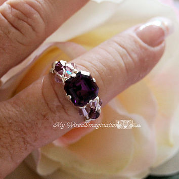 Swarovski Amethyst Crystal Wire Wrapped Ring Signature Design Fine Jewelry February Birthstone