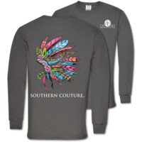 Southern Couture Preppy Painted Headdress Feathers Long Sleeve T-Shirt