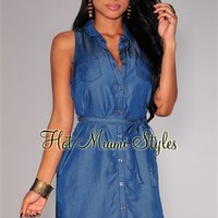 Denim Button Down Belted Sleeveless Shirt-Dress