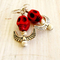 Skull Wing Dangle Earrings Day of the Dead Halloween Red Handmade Jewelry Earrings