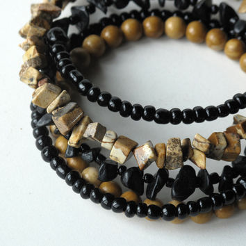 Beaded stacking bracelets - black & tan stone