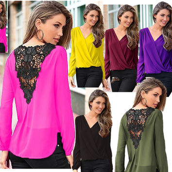 Backless Lace Patchwork V-neck Long Sleeves Chiffon Blouse
