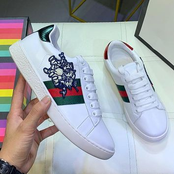GUCCI Fashion Women Men Casual Three Little Pigs Pattern Leather Couple Sport Shoes Sneakers