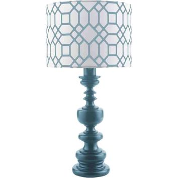Wilson Outdoor Table Lamp ~  White & Teal